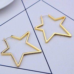Henri Bendel Hollow Gold Star Earrings